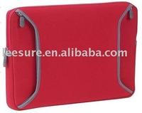 Red neoprene 15 inch zipper laptop sleeve