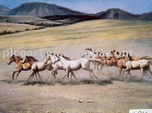 hot selling eight horses painting gift for business partners at good price handmade on canvas