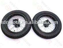 "17 "" / 14 "" / 12 "" pneu de estrada / borda de aço 1.85 - 12 Qingda pneu 90/90 - 12"