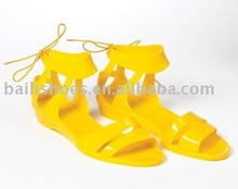 J58-820 pvc jelly colorful casual jelly shoes ,plastic jelly women casual lace-up shoe