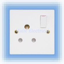 15A 1 gang switched round-pin wall socket (British standard White range)