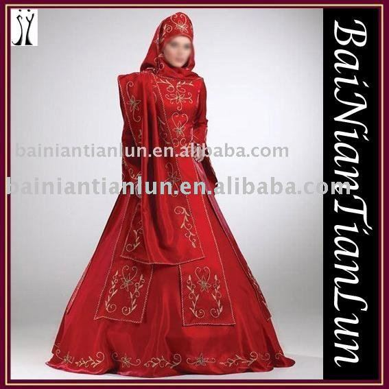 Attractive Muslim Wedding Dress 1 the material is satin 2 hand embroidery 3