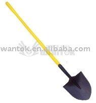 Shovel with long plastic handle