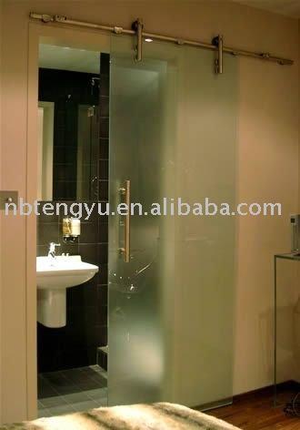 Porte coulissante en verre de salle de bains - Porte salle de bain vitree ...