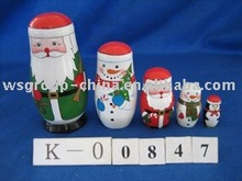 wooden santa 5pcs/set gift box
