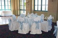 wedding chair cover and blue organza sash