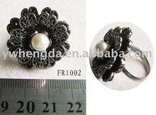 fashion flower with pearl finger ring FR-1002