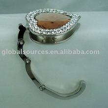 Heart Design Double Diamond Handbag Hooks