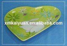 Easter ceramic dolomite heart shape plate