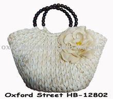 2012 fashion straw bag, white straw bag, straw bag with flower shape HB-12802