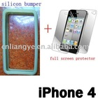 Silicon Bumper Frame Case + Full Screen Protector for iPhone 4G 4S(Accept Paypal)
