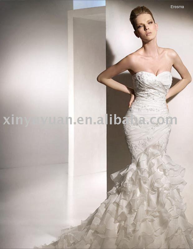 Fashion mermaid gorgeous strapless sweetheart neck tiered ruffled wedding