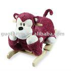 Plush baby rocking monkey with wooden base