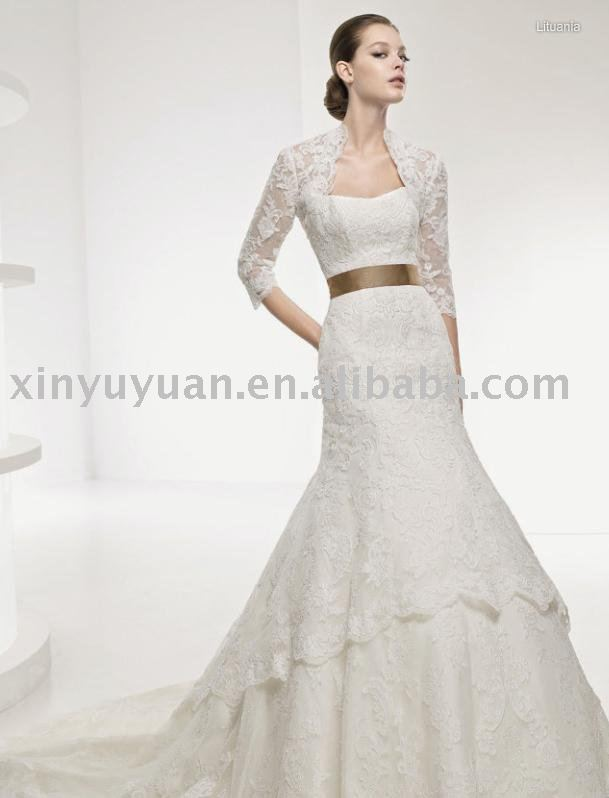 grace lace jacket shining wedding dress with gold bowknot back LSW051