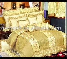100% Polyester Satin Embroidered Comforter Set