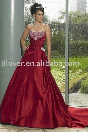 Red Lace Ruffle Waist WD113 Modern Wedding Dress