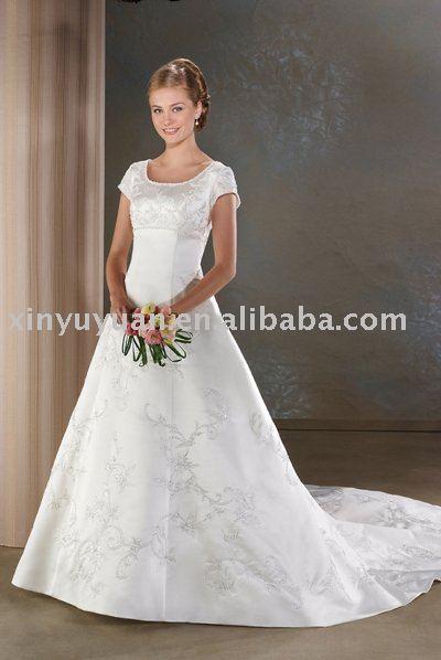 China plus size custom wedding dresses with short sleeves BOW010