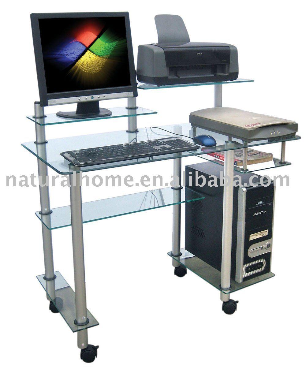 Verre table d 39 ordinateur pc ktyf 89022 tables en verre id du produit - Table informatique en verre ...