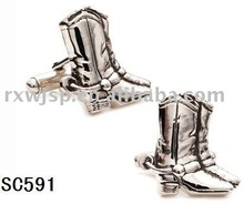 stainless steel Western Boot mens cufflinks