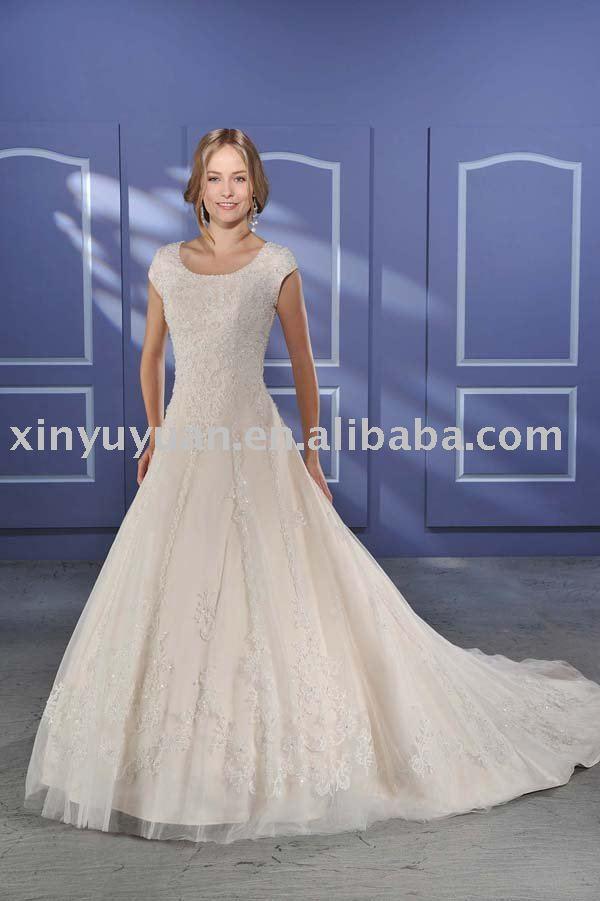 modest new designer tulle wedding dresses with short sleeves BOW035