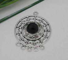 10 Silver Tone Enamel Circle 5to1 Connectors 39x31mm