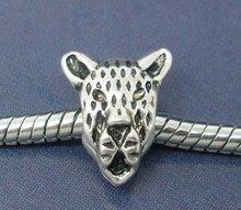 20 Silver Tone Leopard Face Charm Beads. Fit Charm Bracelet 13x11mm