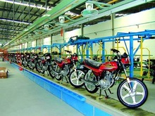 Motorcycle assembly line straight