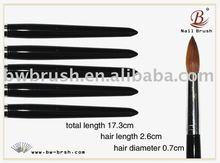 Baowang Black Wooden Handle Kolinsky Hair Acrylic Nail Brush(B14)