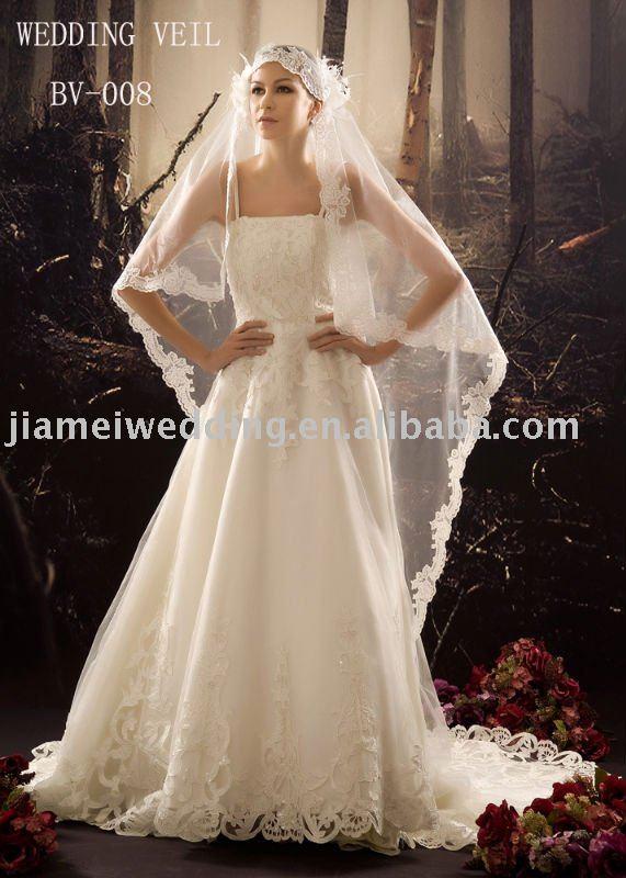 bridal veil wedding dress lace