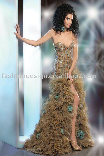 LM009 Gorgeous strapless sparkle crystals Arabic wedding dresses