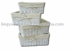 willow storage basket,set of 4,with the cloth lining