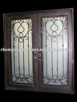 ornamental elegant wrought iron double swing door for commercial