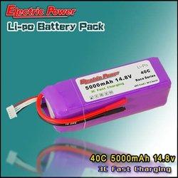 5000mAh 14.8V 40C lipo battery 4S1P rc hobby model high rate