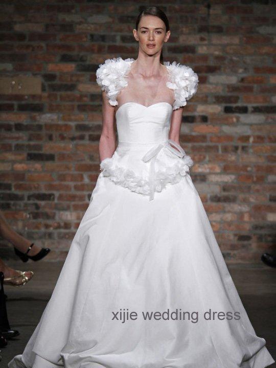 modern design fabric flower wedding gown