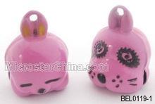 Double Face Brass Bell Dog & Rabbit, Size:15*20mm