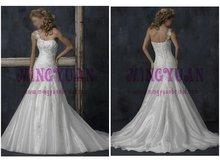 white organza one shoulder bride wedding dress free shipping w3143