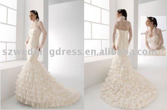 Gorgeous mermaid satin wedding dress with lace jacket