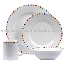 16 pieces ceramic decal dinnerware