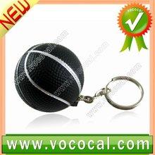 1 x Black Mini Rubber Basketball Shaped Key Chain