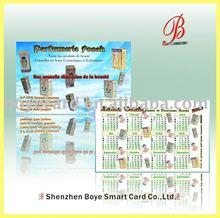plastic pvc promotional calendar card