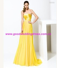 China Wholesale Promotional Yellow Colour Prom dress