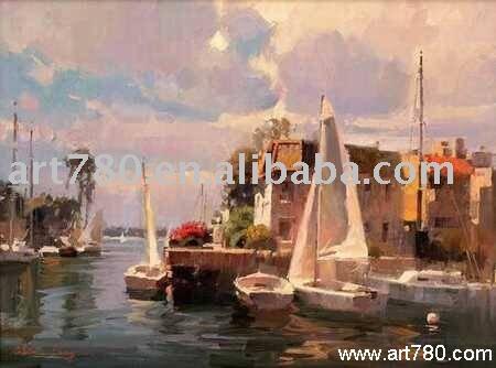 Pintura del paisaje marino, Pintura al óleo impresionista, Pintura al óleo del barco