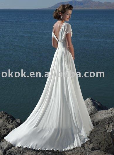 chiffon wedding dress with sleeves. Suzhou City OK Wedding Dress