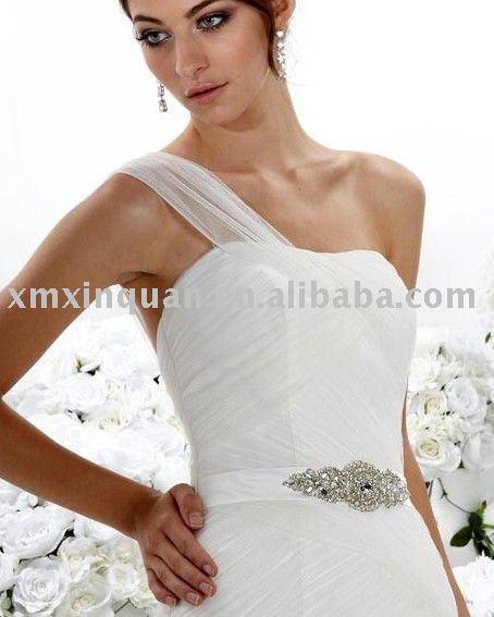 EFW492 Unique one shoulder jeweled waist tulle mermaid wedding dress
