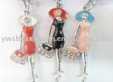 Fashion Metal Swaroski Rhinstone Enamel Lady Key Chain , Key Ring SY12156
