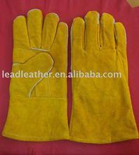 yellow cow split leather long welding gloves 2012