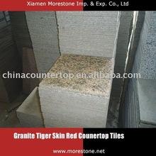 "Granite Tiger Skin Red 12"" x 12"" x 3/8"" tiles kitchen countertop"