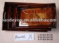 antique decorative rectangular wooden serving tray
