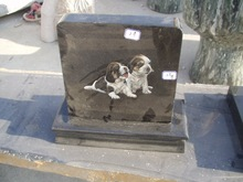 Granite and marble pet headstone with designs