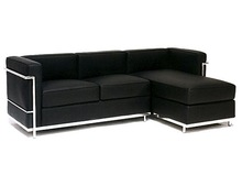 Modern fashion genuine leather LC2 Petit Chaise Sectional Sofa office lounge